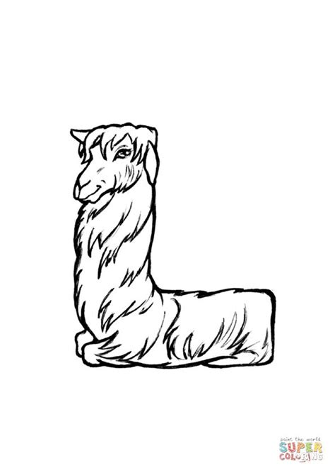 L is for Llama coloring page from Animals Alphabet