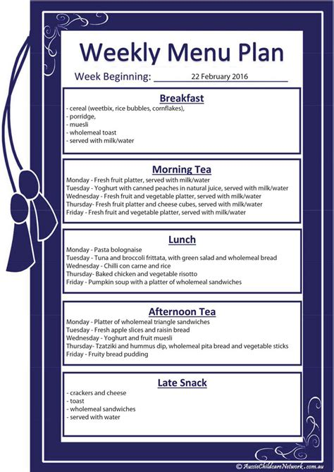 weekly menu plan aussie childcare network