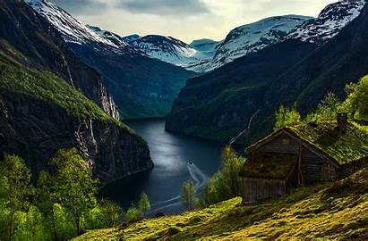 Fjord Norway Geiranger Haus Landscape Nature Wallpapers
