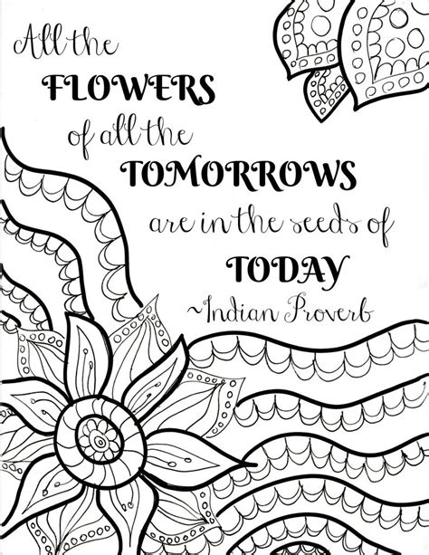 printable flower quote coloring pages