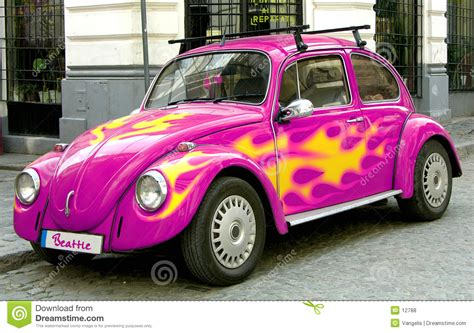 pink beetle car royalty  stock  image