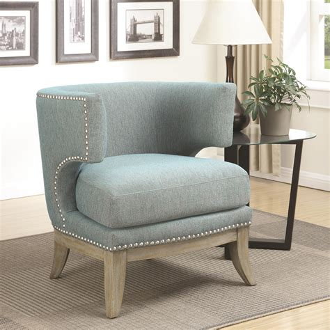 unique accent chair barrel high curved back nailhead