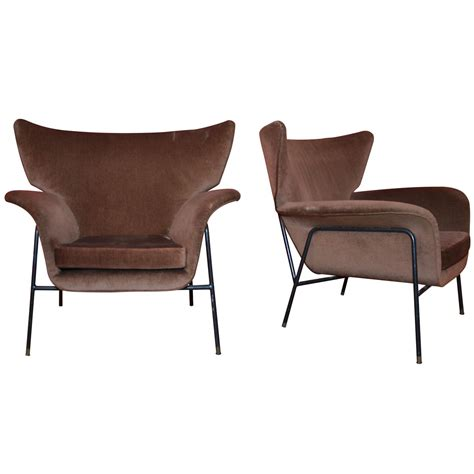 Two Armchairs by Two 1950s Winged Armchairs Mcm Design