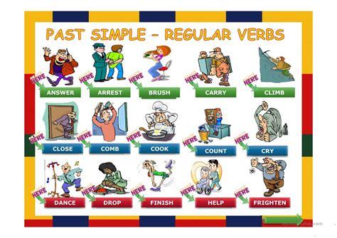 simple  regular verbs  easy worksheet  esl