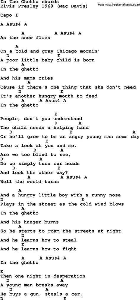 Song Lyrics with guitar chords for In The Ghetto | Guitar
