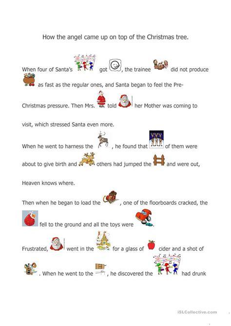 christmas story worksheet  esl printable