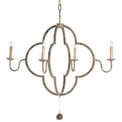 Quatrefoil Light by Lewis Quatrefoil French Country Chipped Gold Chandelier