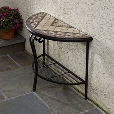 basilica mosaic outdoor console table patio accent
