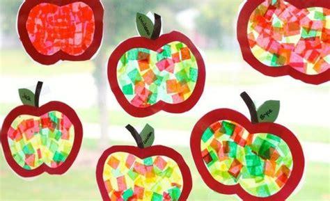 Herbst Fenster Grundschule by Apfel Fensterbilder Mit Seidenpapier Basteln Kita