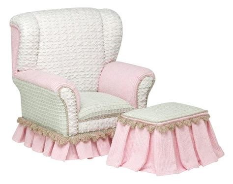 Primrose Childs White & Pink Wingback Chair With Ottoman