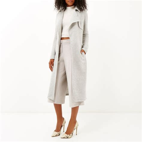 light grey long coat river island light grey longline trench coat in gray grey