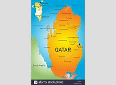 Vector color map of Qatar country Stock Photo, Royalty