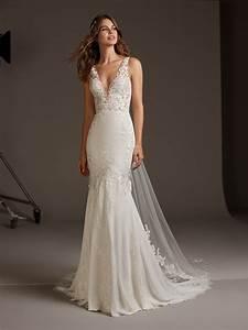 V-neck Crepe Mermaid Wedding Dress   Kleinfeld Bridal