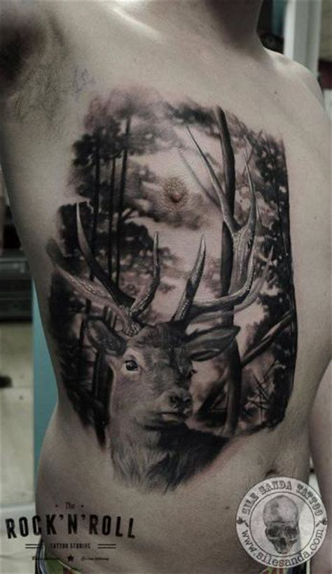 realistic chest side deer tattoo  rock  roll