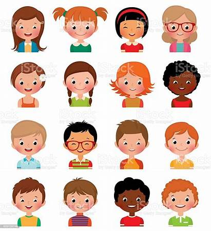Avatars Boys Different Illustration Vector Kid Face