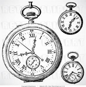 vintage 70s drawings | Vintage Pocket Watch Clip Art ...
