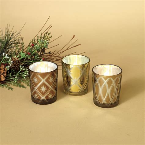 christmas candle holders golden glass candle holders