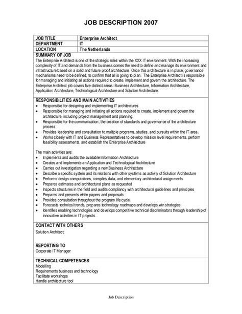 Enterprise Architect Resume Summary by Description Enterprise Architect