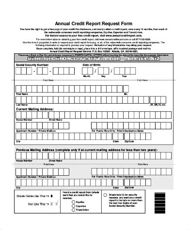 8 sle annual credit report forms pdf word docs pages