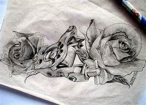 tattoo machine with roses by arty147 on DeviantArt
