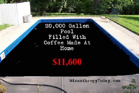 coffee filled swimming pool home garden