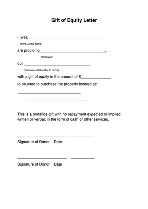 gift  equity letter template printable