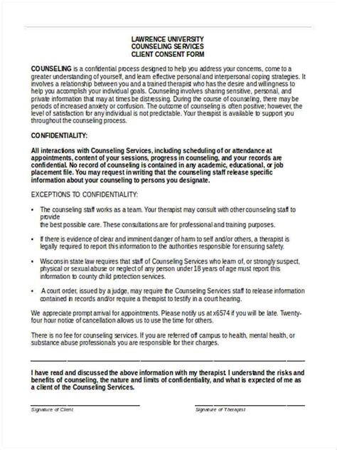 free 7 counseling consent forms in sle exle format