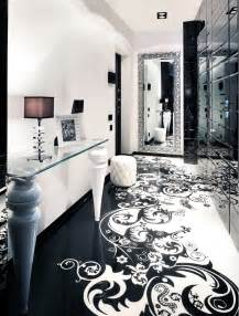 Chandelier Over Bathroom Vanity by Black And White Graphic Decor