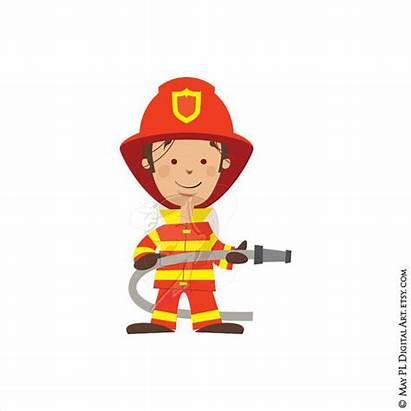 Fireman Clipart Firefighter Clip Fire Truck Engine