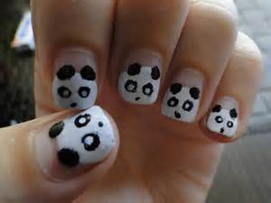 Panda nails by kariinlove on deviantart
