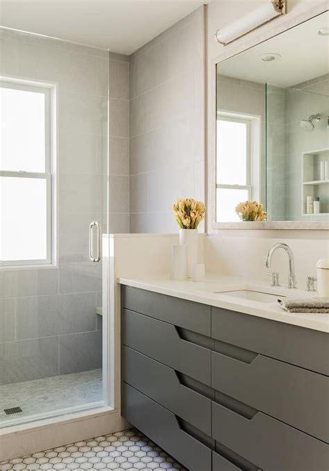 2651 grey bathroom mirror modern gray washstand with hex tile floor modern basement
