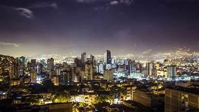 Medellin Colombia Night Buildings Republic Lights Zoom