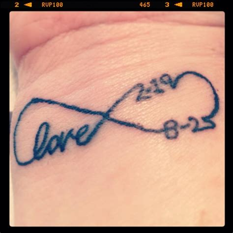 infinity love wrist tattoo wedding date  childs