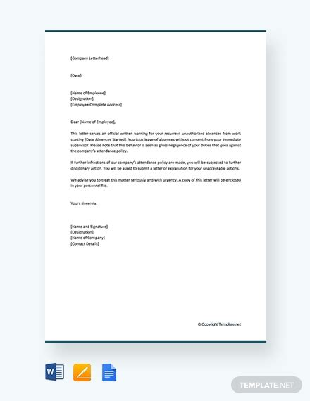 employee verbal warning letter template word