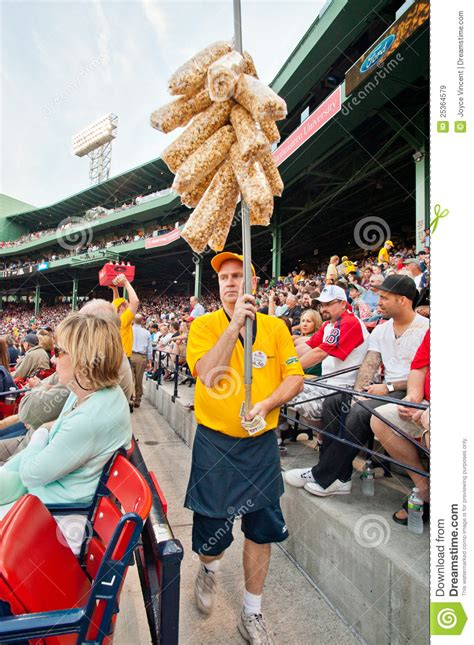 vendor selling popcorn  historic fenway park editorial
