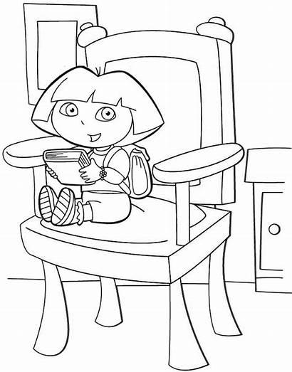 Chair Coloring Sitting Dora Sheet Mitraland