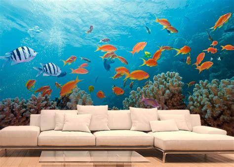 femme de chambre poissons exotiques et coraux papier peint fonds marins