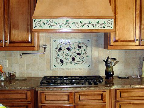 Mosaic Kitchen Backsplash Artwork (grapes & Vines