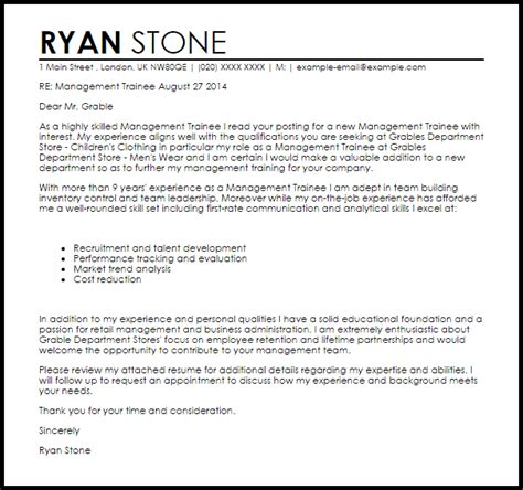 Cover Letter For Audit Trainee by Management Trainee Cover Letter Sle Livecareer