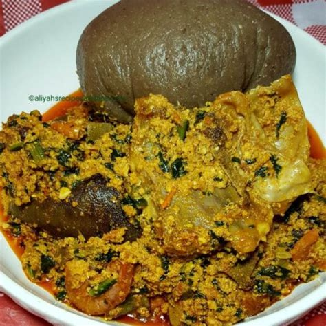 ¾ cup pumpkin seeds, or egusi, usually found in african or tropical food markets]]. Egusi Soup (frying method)