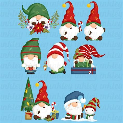 The downloaded file will be watermark free. Christmas Gnome Clipart - Cute Christmas Clipart - Holiday ...