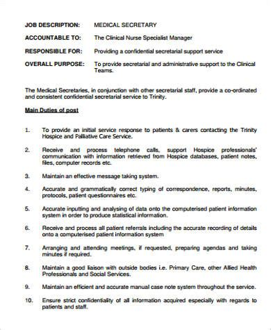 medical secretary job description samples  ms