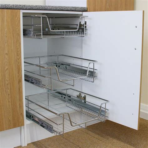 Pull Out Cupboard by 3 Pull Out Kitchen Wire Baskets Slide Out Storage Cupboard