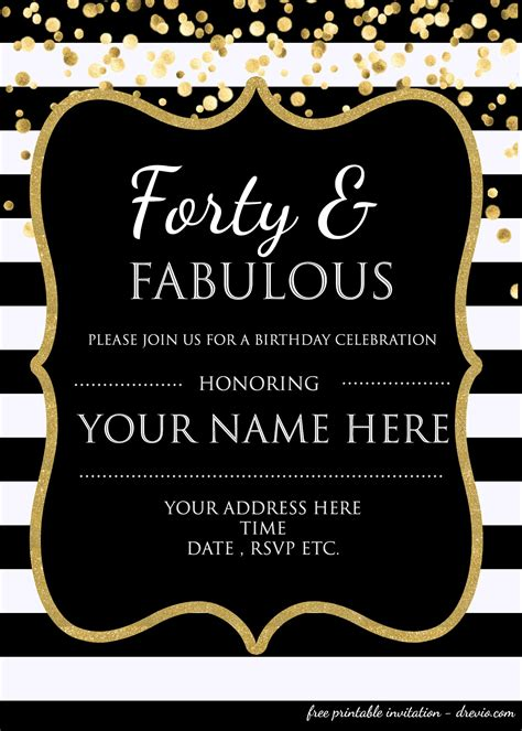 forty fabulous  birthday invitation template psd