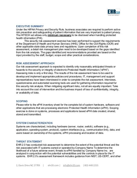 ehr meaningful  security risk assessment sample document