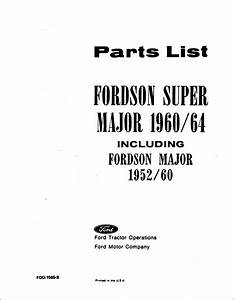 Fordson Major Parts Manual For 1952