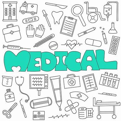 Doodle Medical Healthcare Hand Vecteezy Drawn Vector