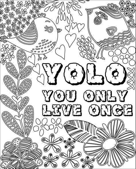 inspirational fun quotes colouring pages