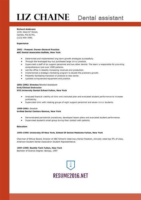 Dental Assistant Resume Template Word by Resume Sles 2016 Archives Resume 2016