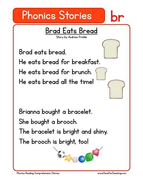 phonics words stories br reading comprehension worksheet